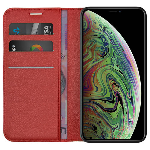 Leather Wallet Case & Card Holder Pouch - Apple iPhone Xs Max - Red